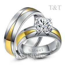 T&T 14K Gold GP Stainless Steel Engagement Wedding Band Ring For Couple