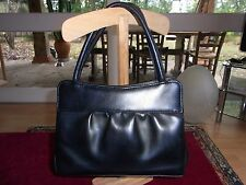 SAC A MAIN EN SIMILI CUIR NOIR VINTAGE 60/70 BLACK HANDBAG IMITATION LEATHER