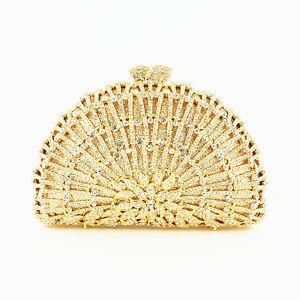 WOMEN'S Luxury Evening Bag HARD SHELL Crystal Splash Clutch  561664-920