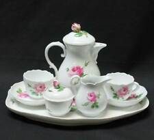 Meissen Tea Set Tray Teapot Cream Sugar Tea Cups Saucers Rose Pattern HALLMARKED