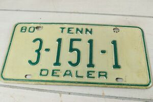 Vintage 1980 Tennessee Dealer License Plate 3-151-1 Expired Car Automobile Tag