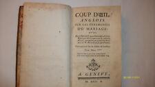 Coutumes mariage  Coup d'oeil  sur les cérémonies du mariage 1750 Hurtaud