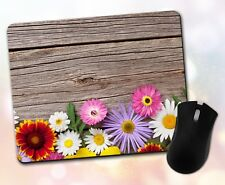 Flower Mouse Pad • Assorted Colorful Flowers Wood Gift Decor Desk Accessory