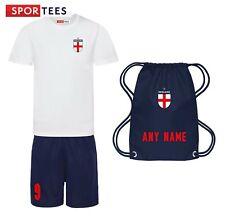 Personalised Kid England Style Home Football Kit Shirt & Shorts Bag Support NHS