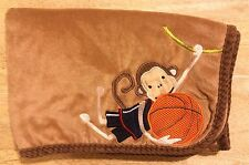 Lambs & Ivy Monkey Basketball Baby Blanket Brown Braided Cord Edge Vines Ball
