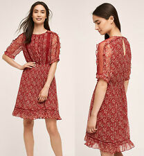 ANTHROPOLOGIE NWT Amber Ruffle Dress by Floreat Red Floral Sz 2 XS $168