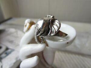 Vintage STERLING SILVER Elephant Head Figural POISON Secret Compartment RING
