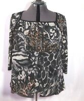 Jaclyn Smith Blouse Top Shirt Women's 3/4 sleeve Animal print Sz 2x Plus NEW NWT
