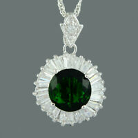 Brass CZ 18K White Gold Plated Green Emerald Round Cut Pendant Necklace Chain
