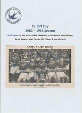 CARDIFF CITY 1962-1963 SEASON RARE ORIG HAND SIGNED TEAM GROUP X 8 SIGNATURES