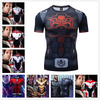 Marvel Superhero Avengers 4 Cosplay Compression Tights Quick-Drying T-shirt Tops