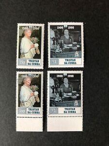 MNH + CTO Tristan Da Cunha Queen Mums 90th Birthday both sets Sg 498-499
