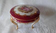 1970s Limoges 3 Footed Trinket Box, Goudeville, Progress Of Love Scene Fragonard