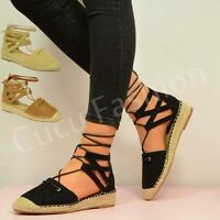 New Womens Espadrilles Sandals Ladies Wedge Heel Ankle Lace Up Shoes Size UK 3-8