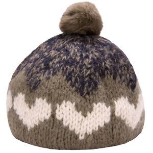 Aerusi Women Winter Warm Knit Crochet Beret Hat Beanie Cap With Faux Fur Pom Pom