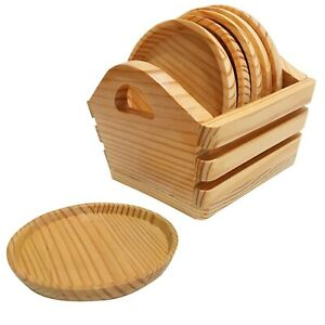 Wood Coasters for Drinks with Holder - Set of 6 Rustic Wooden Round Drink Rests