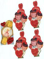 MICKEY MOUSE CLUB VALENTINE CARD LOT (5) Disney 1950s CINDERELLA WATCH Ears HAT