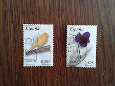 lote sellos usados, violeta y canario, serie flora y fauna año 2007.