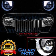 97-06 Jeep TJ Wrangler Angry Bird LED Black Headlight DRL+Hi+Lo Beam+Cree LEDs