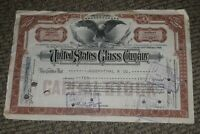 STOCK CERTIFICATE 10 Shares US UNITED STATES GLASS COMPANY CO Pennsylvania OLD!