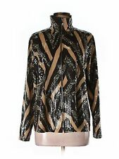 Women Exclusively Misook Black Animal Print Leopard Shimmer Jacket Blazer Size M