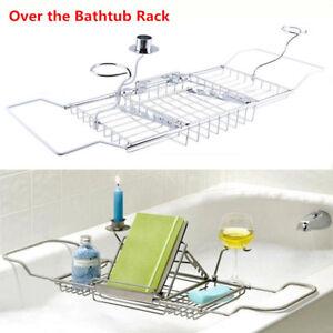 Expandable SPA Bathtub Tray Holder Bath Caddy Chromme Wine Rack Table Bathroom
