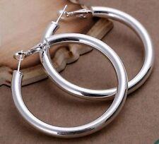 Large 925 Stamped Silver Plt Plain Smooth Tube Hoop Large Earrings 50mm 5cm -365