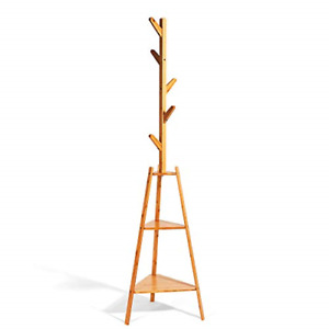 Hododou Coat Rack Stand Upgrade Version 2 in 1Bamboo Coat Tree Hall Tree with 2