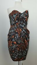 Brown Black White Strapless Bustier Tulip Shape Dress With Pockets Size 10 - 12