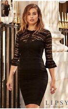 BNWT LIPSY LONG SLEEVED BODYCON BLACK LACE RUFFLE DRESS SIZE 4 NEW WITH TAG. 5014e3f38