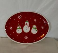 HALLMARK Snowman Oval Platter Serving Tray Plate Christmas Holiday Red White
