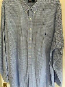 Genuine Ralph Lauren Polo shirt 3XL Tall - Blue check pattern, brand new
