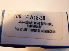 "QTY =100: Thomas & Betts STA-KON A18-38 Ring Terminals 3/8"" Bolt, 22-16 CU Wire"