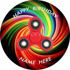 2 x Fidget Spinner PERSONALISED 8 inch Edible Image Frosting Sheet Cake Topper