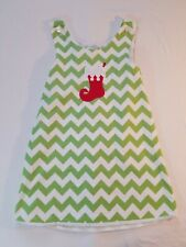 Lolly Wolly Doodle Christmas Dress size 8 Green chevron stocking