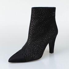 NIB CHANEL Black Goat Skin And Grosgrain Cap Toe Short Boots Shoes 7/38