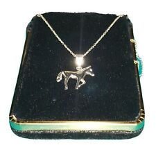 """925 STERLING SILVER 16"""" NECKLACE CHAIN CHARM TROTTING HORSE ANIMAL PENDANT BIN!"""