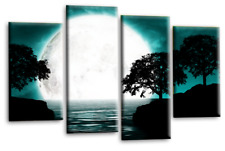 Landscape Abstract Art Picture Black White Teal Big Moon Reflection Canvas