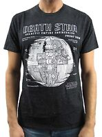 Star Wars Death Star Engineering Black Speckled Men's T-Shirt New