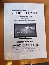 GENUINE ORIGINAL AKURA APLD2TR32H1TFD DIGITAL LCD TV USER GUIDE MANUAL