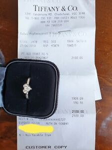 Authentic Tiffany & Co. Platinum 0.15ct Diamond Engagement Ring Size 5