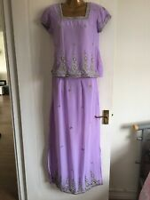 Lilac/Sliver Embroidered Indian Lehenga Lengha Choli Blouse  NEW