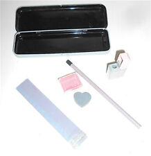 KUTSUWA 80s Japan tin pencil case + heart eraser + pencil + ruler - astuccio
