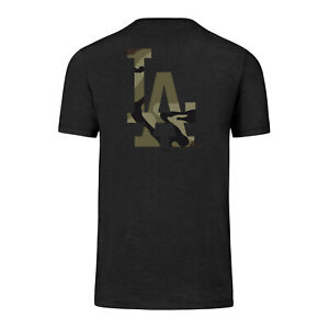 MLB Los Angeles Dodgers T-Shirt Backer Club Black Camoflauge Logo Camouflage
