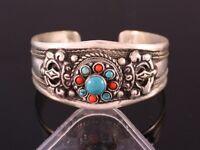 Huge Tibetan Turquoise Red Coral 9 Gemstone Carved Big Vajra Dorje Cuff Bracelet