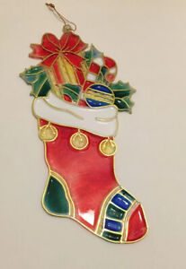 Vtg Christmas Suncatcher STOCKING Plastic Window Stained Glass Look Giftco Inc