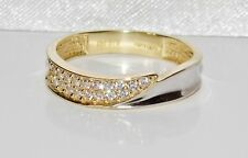 9ct Yellow & White Gold 0.15ct Ladies Eternity / Wedding Ring size Q