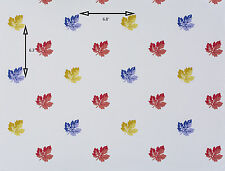 Vintage Wallpaper Red Blue and Gold Fall Leaves on White Background by Motif