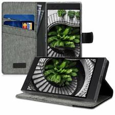 Razer Phone 2 Wallet Case Durable Fabric and Leather Flip Stand Cover Grey/Black