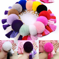 Fashion Tassel Rabbit Fur Ball PomPom Car Keychain Handbag Charm Key Ring New